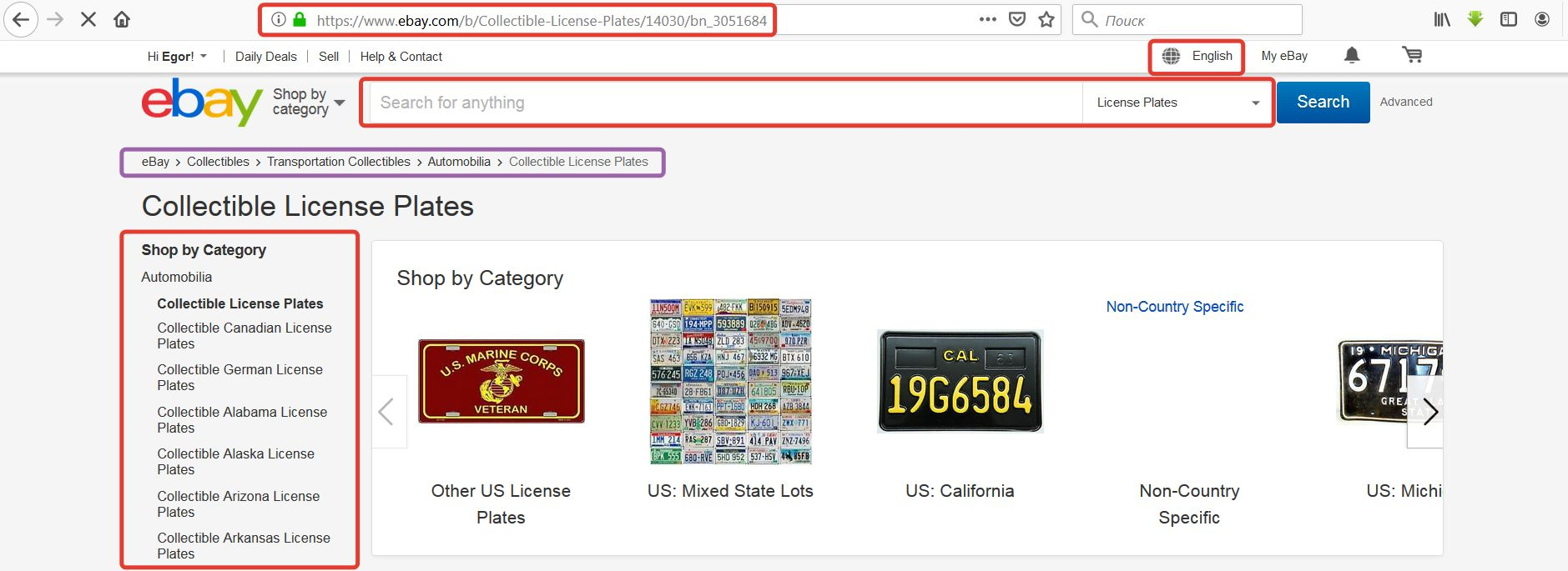 Интерфейс поиска на eBay