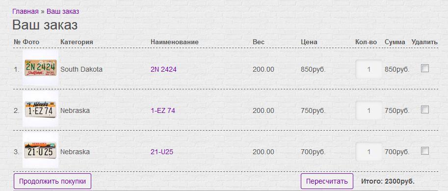 Список товаров в заказе Nomeroff
