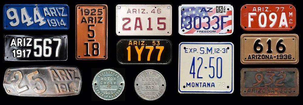 Эволюция мотоциклетных номеров Аризоны