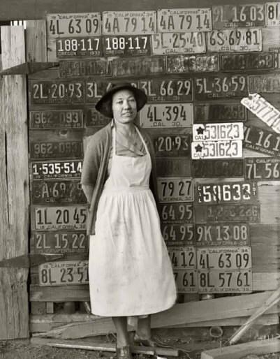 Девушка на фоне старой коллекции американских номеров