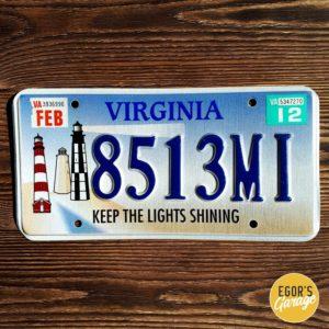 Номерной знак с маяком из Виргинии
