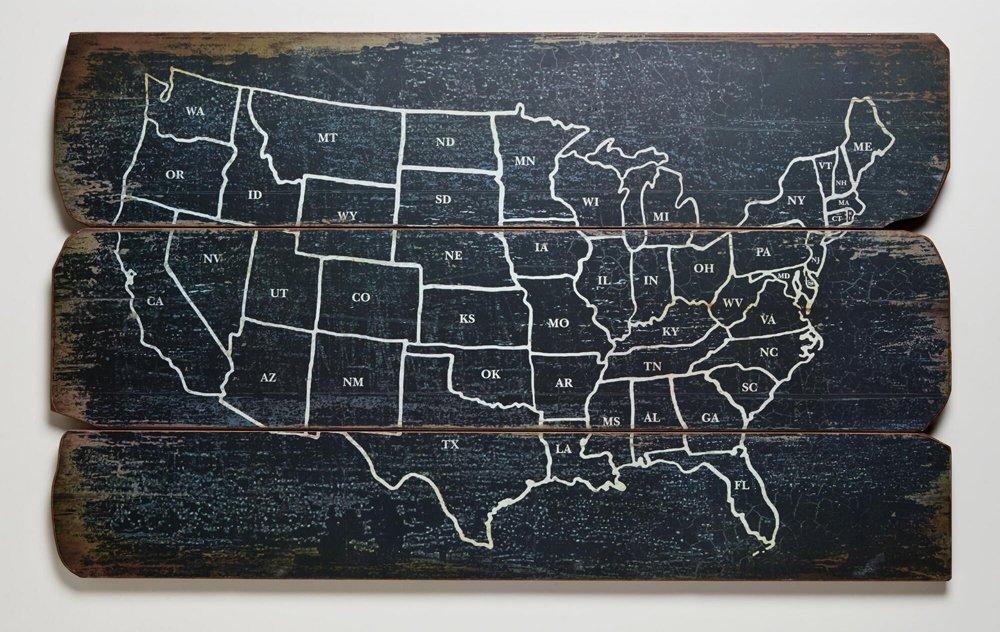 Карта США на деревянном щите