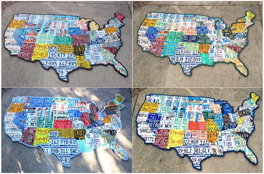 Гигантские карты США из номерных знаков