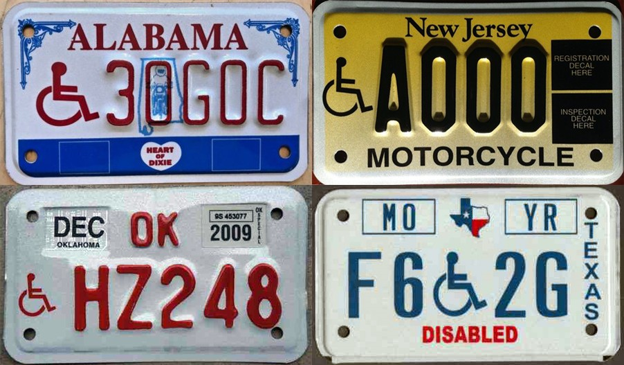 Motorcycle disabled license plates