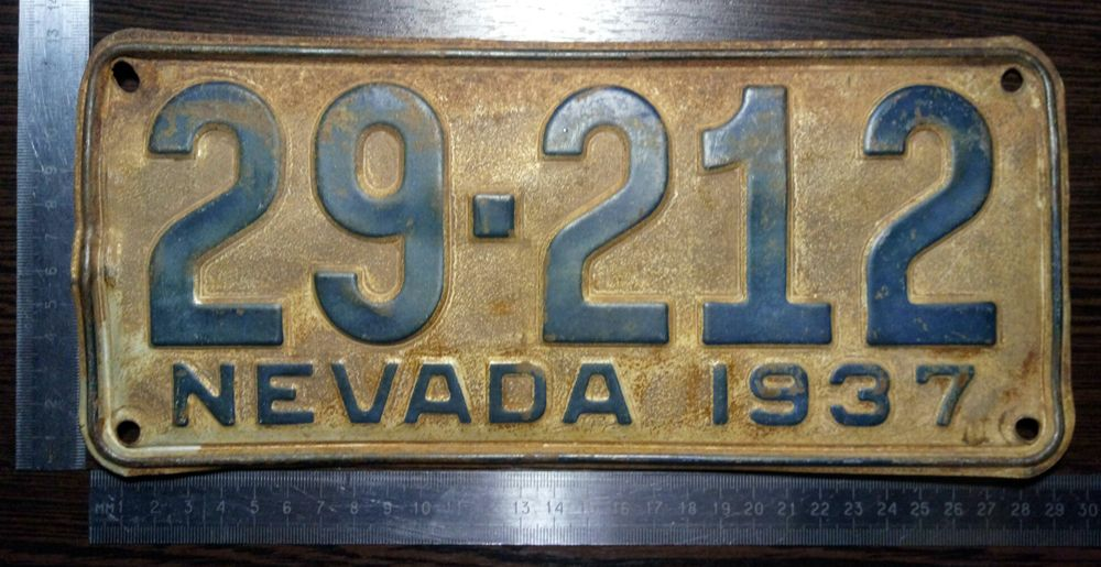 Невада 1937 - автомобильный номер