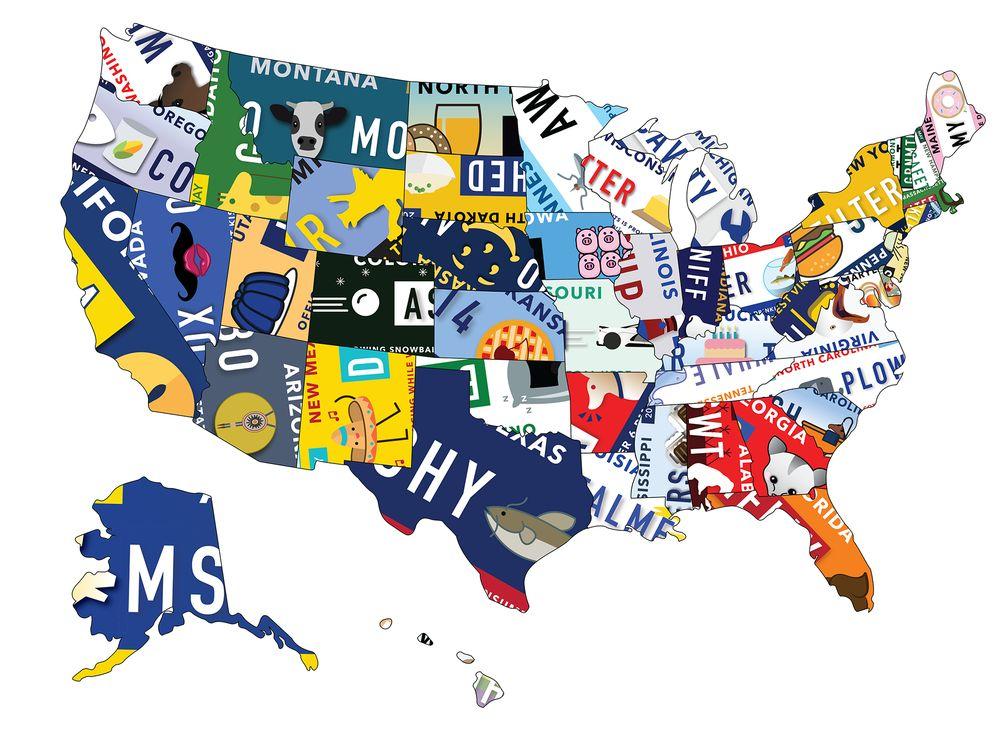 Географическая карта США из смешных номеров