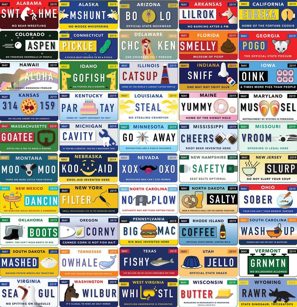 50 штатов Америки в смешных номерах