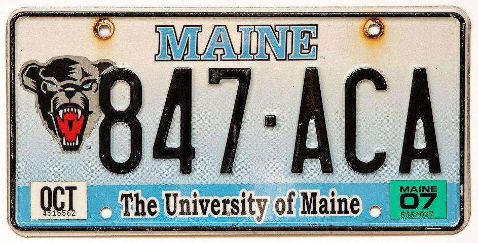 Номерной знак штата Мэн с изображением логотипа команды Black Bear