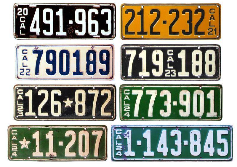 Номерные знаки Калифорнии 1920-1924