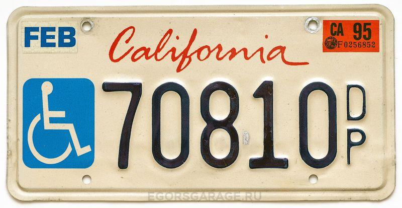 Инвалидный калифорнийский номер