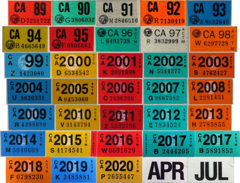 Калифорнийские наклейки номерных знаков