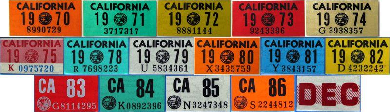 Наклейки с калифорнийских номеров