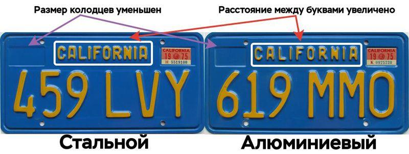 Отличия синих калифорнийских номеров