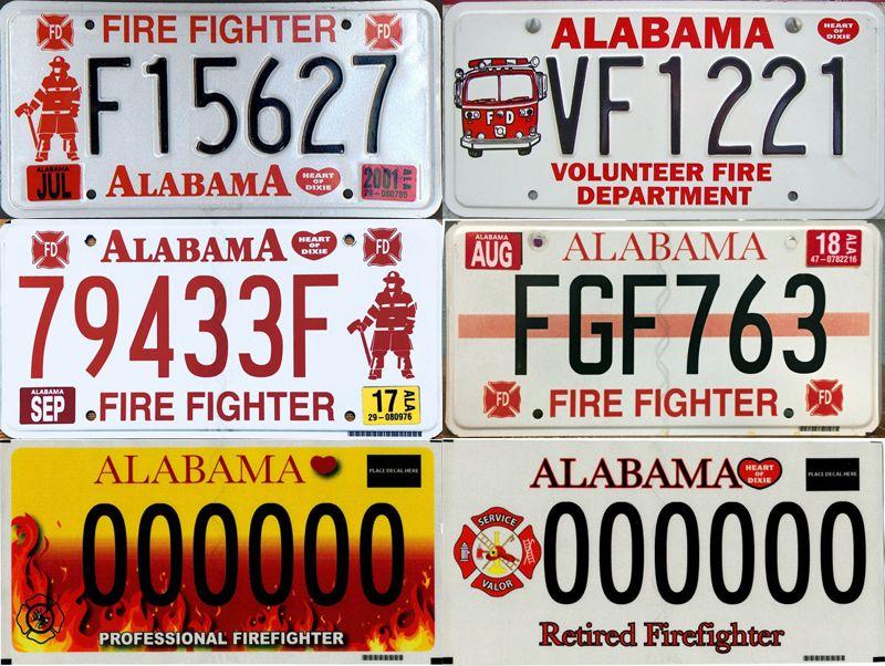Номерные знаки пожарных Алабамы