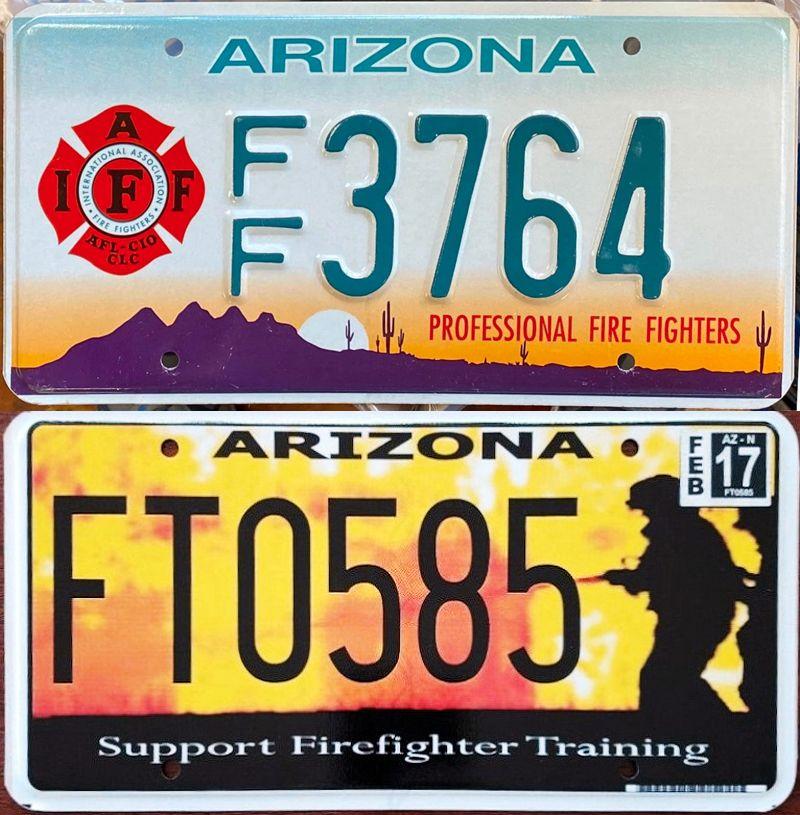 Номерные знаки огнеборцев Аризоны
