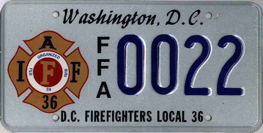 Автомобильный номер пожарного в округе Колумбия