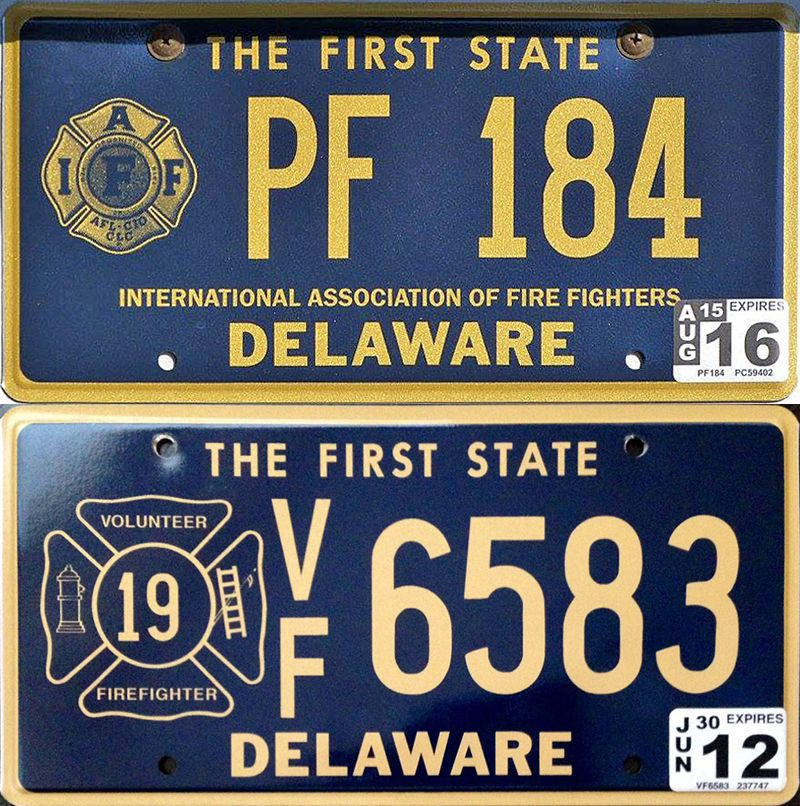 Firefighters plates of Delaware