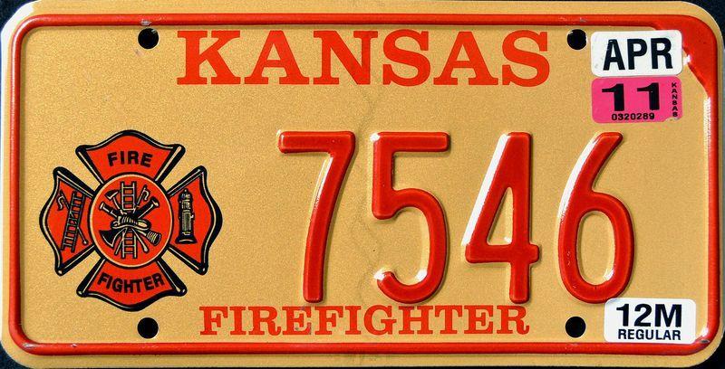 Номерной знак штата Канзас для профессионального пожарного