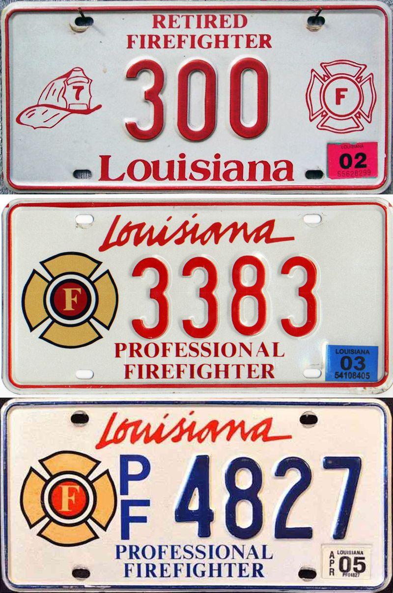 Три номерные пластины Луизианы