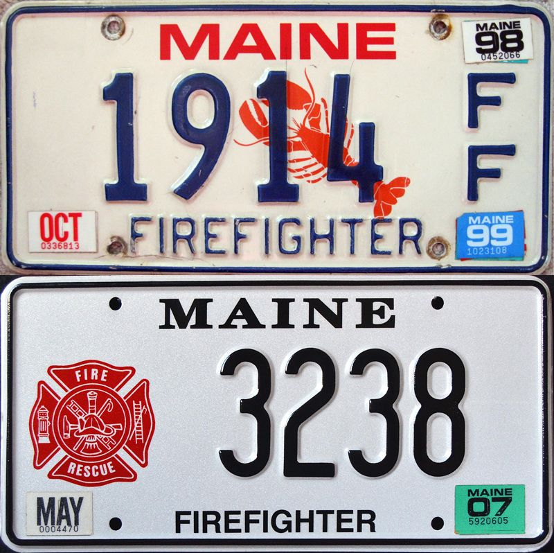 Firefighter Maine plates