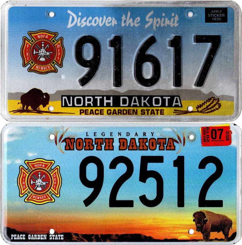 Северная Дакота - пластины с логотипом NDFA