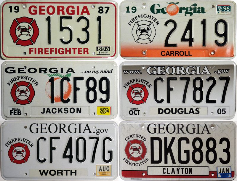 Номерные знаки пожарных в Джорджии