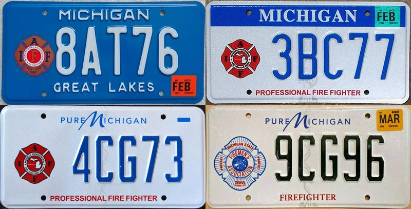 Номерные знаки пожарных в Мичигане
