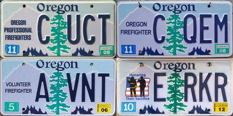 Орегонские номерные знаки огнеборцев