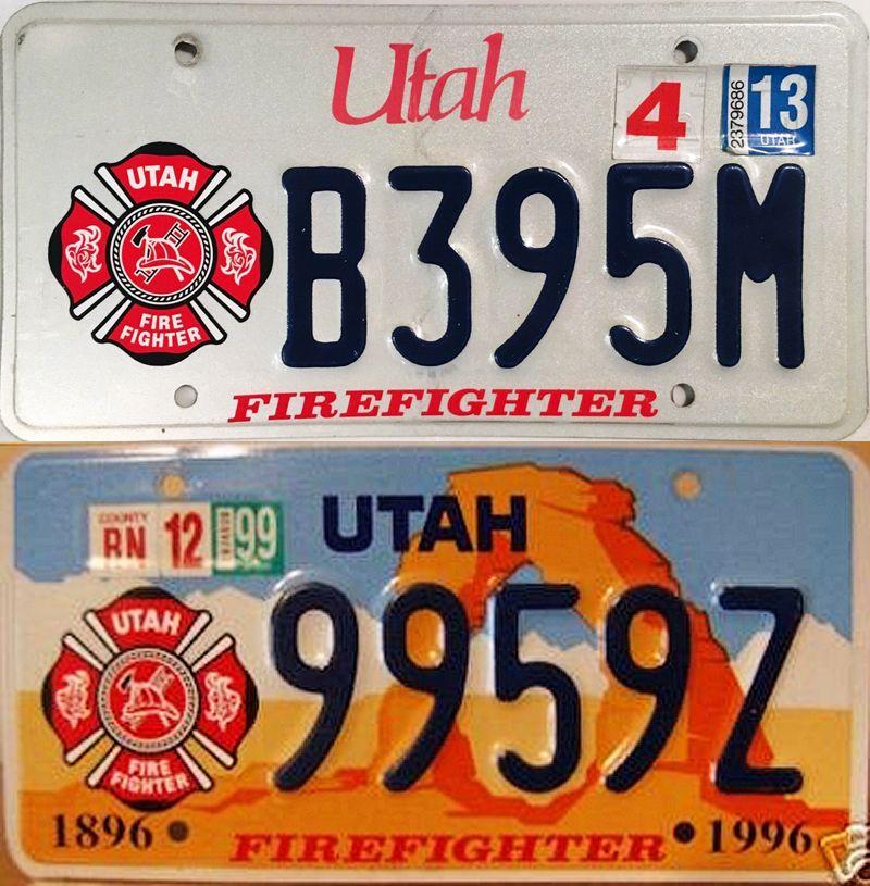 Два номерных знака штата Юта