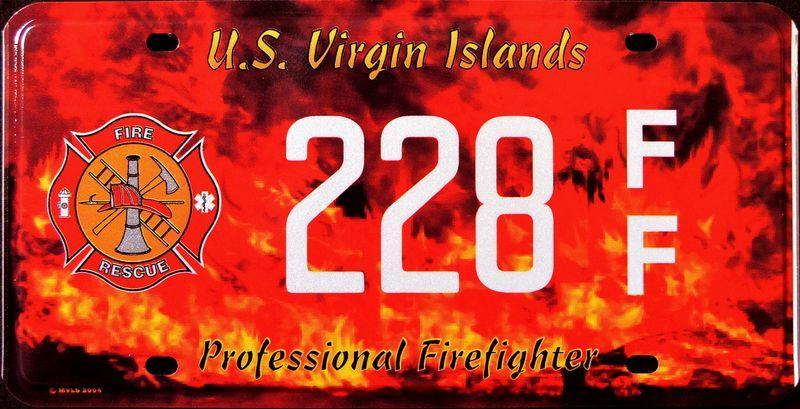 Красно-оранжевый номерной знак Виргинских островов