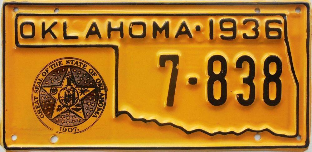 Рельефная пластина Оклахомы с печатью