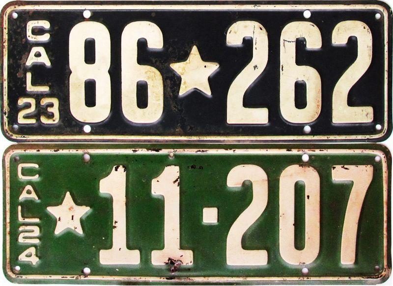 Калифорнийские автономера 1923-1924
